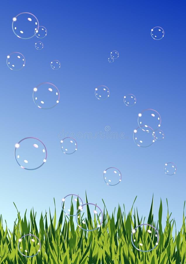 Soap_bubbles_on_summer_field illustration de vecteur