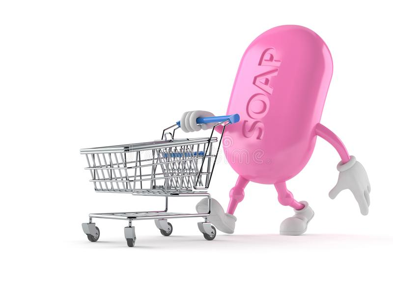 Soap character with shopping cart stock illustration