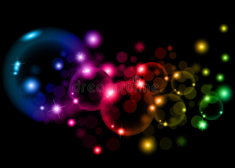Soap colorful bubbles on black background stock image