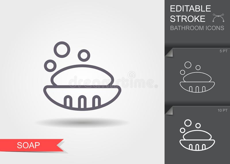 Soap in soap dish. Line icon with editable stroke with shadow royalty free illustration