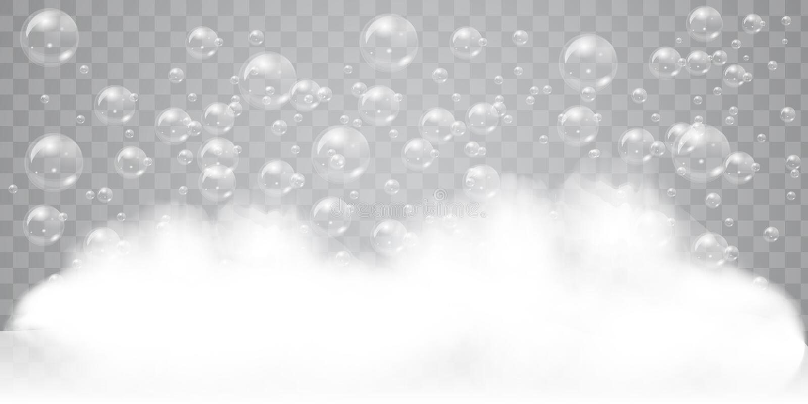 Soap foam with realistic bubbles background for your design. Bath laundry detergent or shampoo concept. Vector royalty free illustration