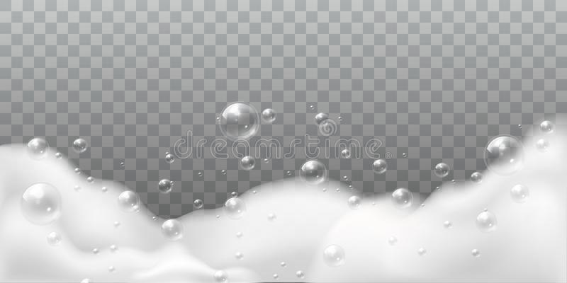 Soap foam. White bubbles of bath or laundry. Shampoo soap clean shiny bubbling. Washing hygiene detergent isolated stock illustration