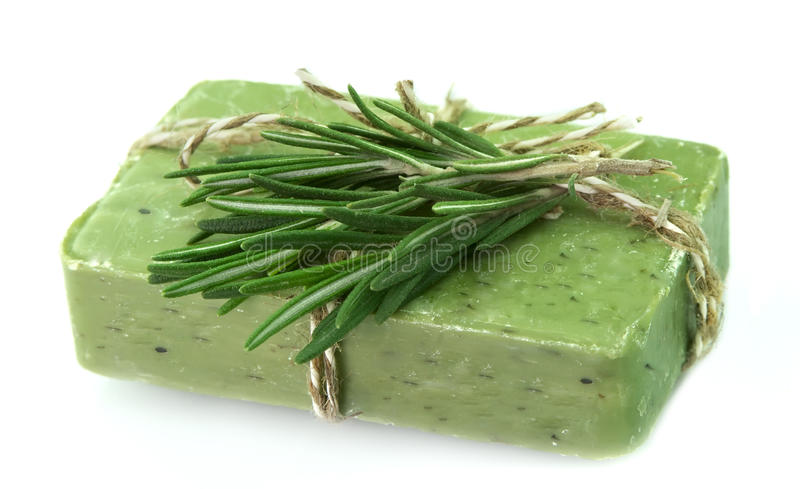 Soap With Fresh Rosemary Royalty Free Stock Photography
