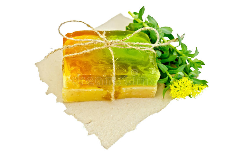 Soap homemade with Rhodiola rosea on paper. Two pieces of homemade soap, tied with twine with Rhodiola rosea flowers on a piece of paper with a light shade on stock image