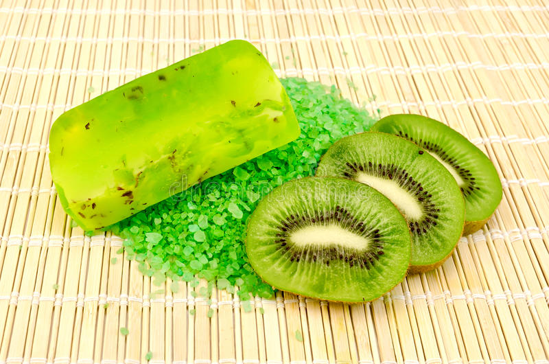 Soap homemade and salt with kiwi