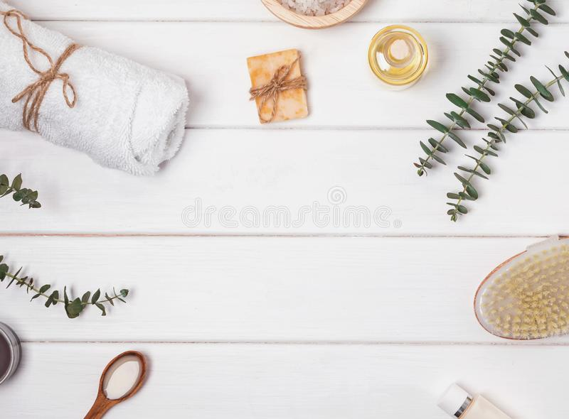 Soap, massage brush, aroma oil and other spa related objects on stock images