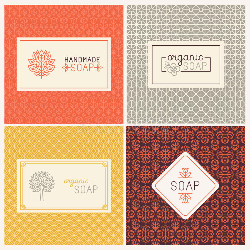 Soap packaging and wrapping paper vector illustration