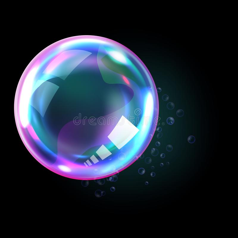 Soap rainbow bubbles with reflections. Soap bubble, realistic transparent air sphere of rainbow colors with reflections and highlights isolated on black royalty free illustration