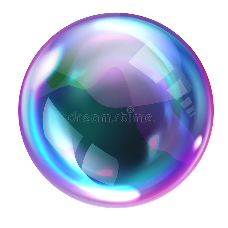 Soap rainbow bubbles with reflections. Soap bubble, realistic transparent air sphere of rainbow colors with reflections and highlights isolated on white vector illustration