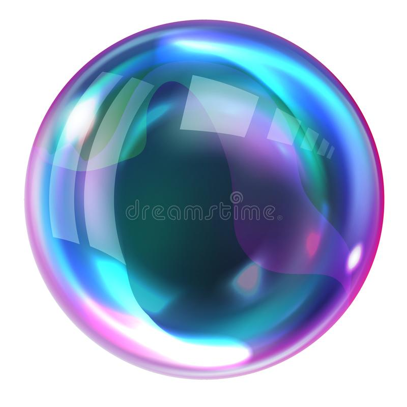 Soap rainbow bubbles with reflections. Soap bubble, realistic transparent air sphere of rainbow colors with reflections and highlights isolated on white stock illustration