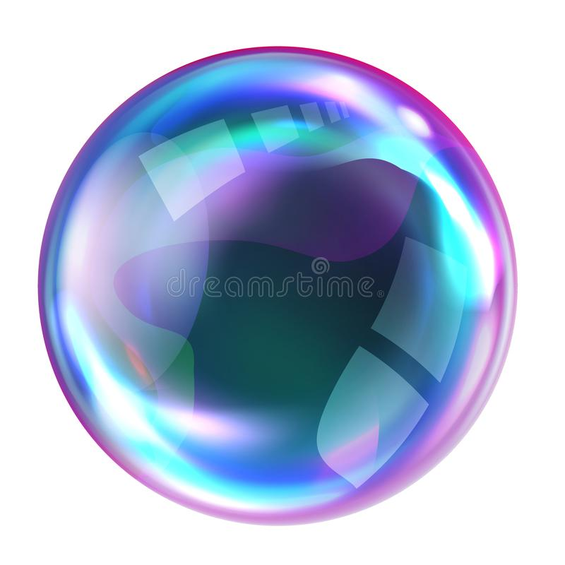 Soap rainbow bubbles with reflections. Soap bubble, realistic transparent air sphere of rainbow colors with reflections and highlights isolated on white royalty free illustration