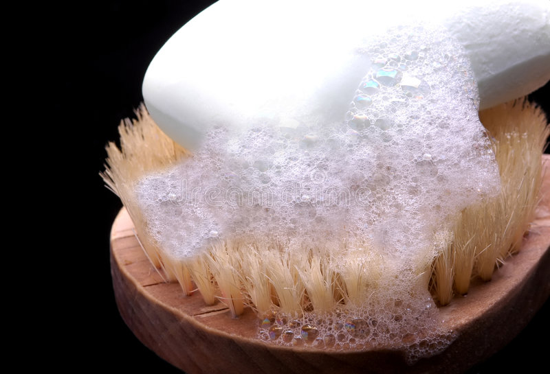Download Soap on a scrub brush stock image. Image of bathe, sudsy - 1763887