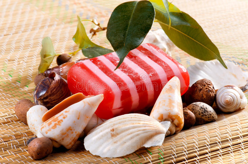 Soap with seashells close up. On reed mat stock image