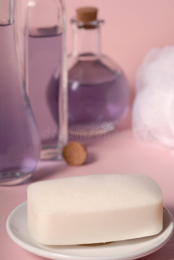 Soap and sponge stock photography