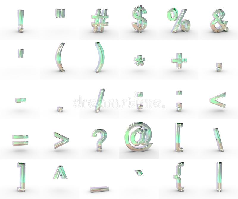 Soap symbols. 3d soap textured font with each character in perspective on a white background royalty free illustration