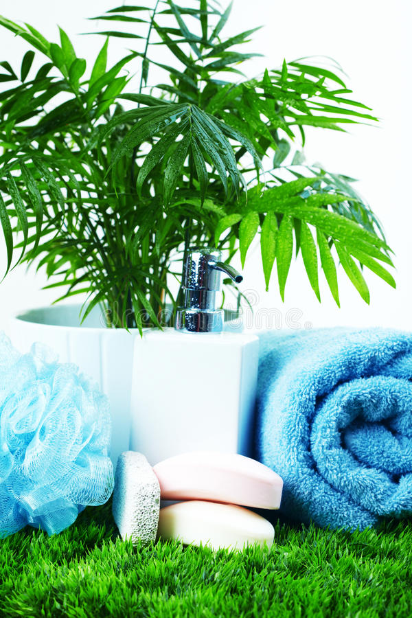 Download Soap and towel. stock image. Image of treatment, grass - 13485767