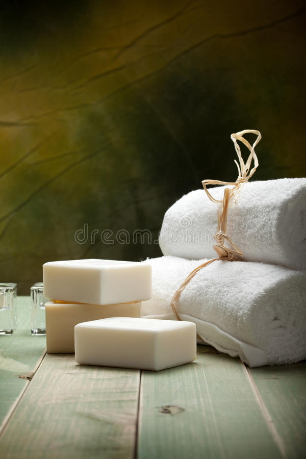 Soap and towels royalty free stock photography
