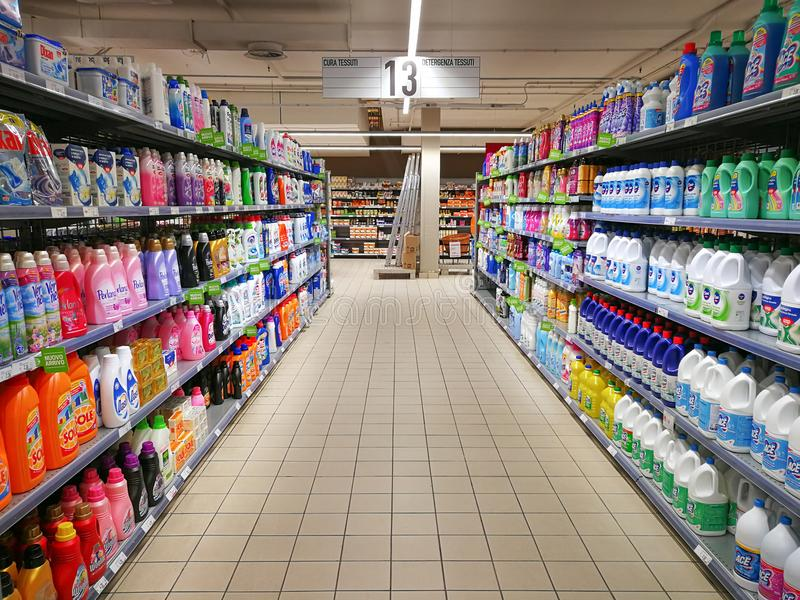 Soaps and detergents for house cleaning department stock photography