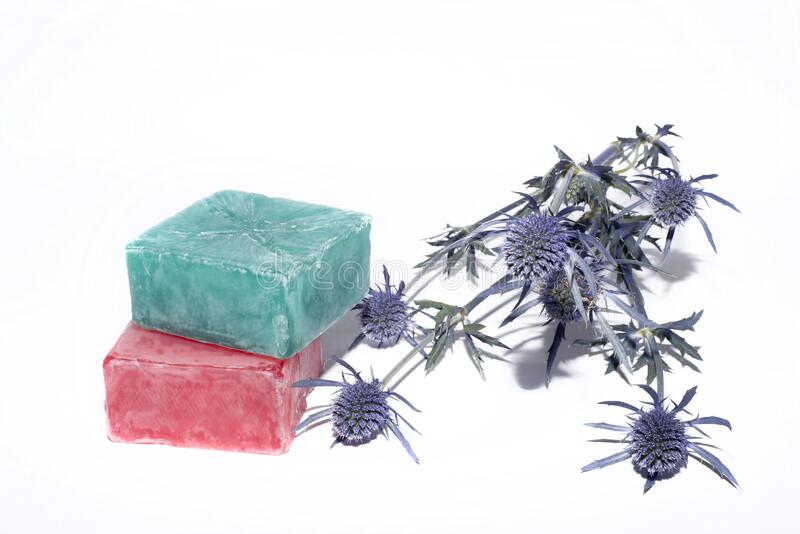 2 soaps and little lavender branch royalty free stock photo