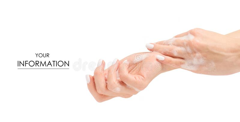 Soapy female hand foam pattern stock photography