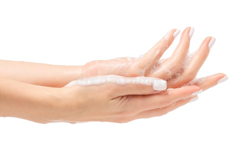 Soapy female hand foam royalty free stock image