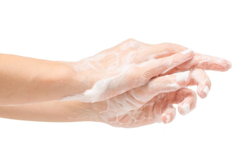 Soapy female hand foam stock images