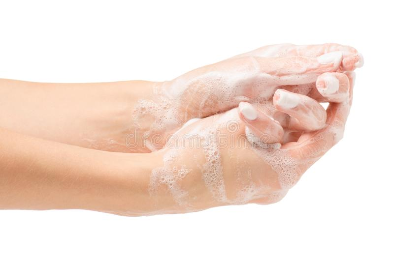 Soapy female hand foam royalty free stock photography