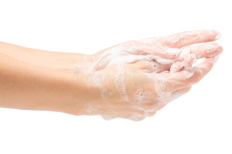 Soapy female hand foam stock image