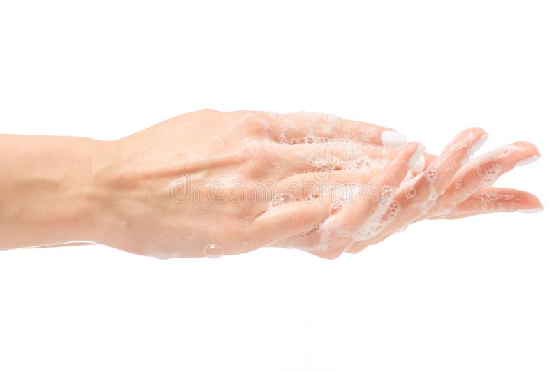 Soapy female hand foam royalty free stock images