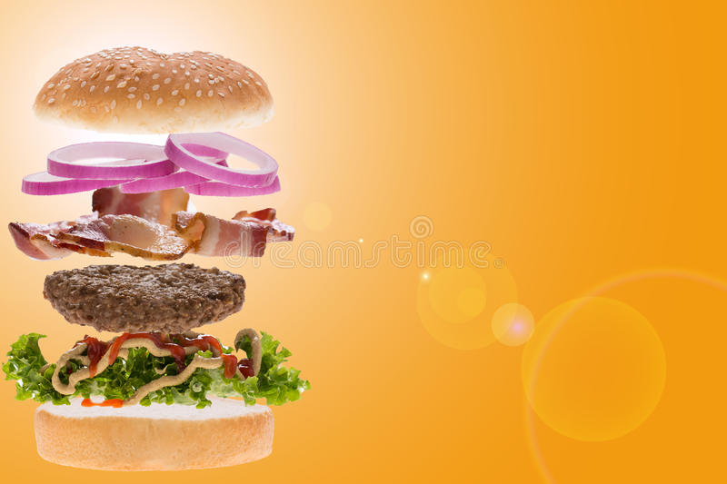 Soaring burger royalty free stock photo