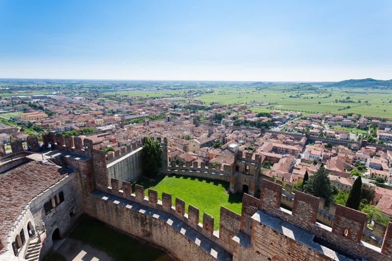 Soave miasteczka widok z lotu ptaka włocha krajobrazu obraz royalty free