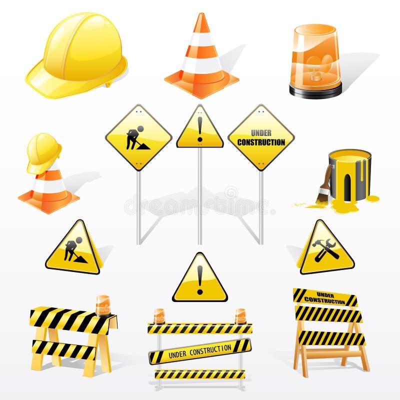 Sob ícones das construções ilustração royalty free