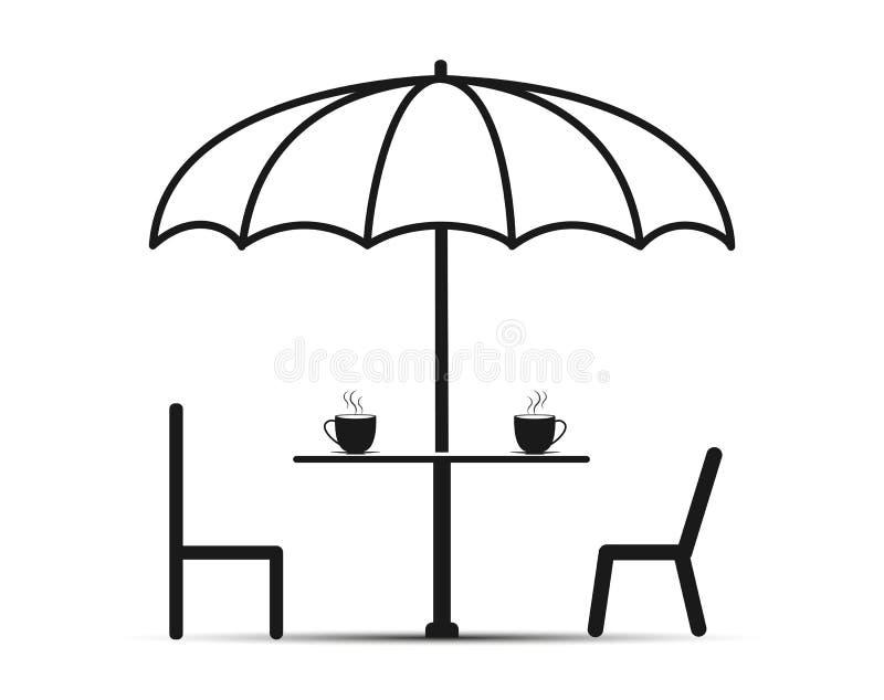 Sob as cadeiras do guarda-chuva dois e uma tabela com chá, projeto simples ilustração stock