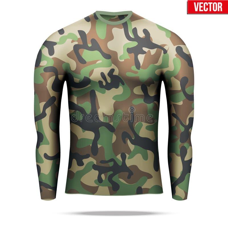 Sob a camisa da compressão da camada com a luva longa no estilo da camuflagem ilustração stock