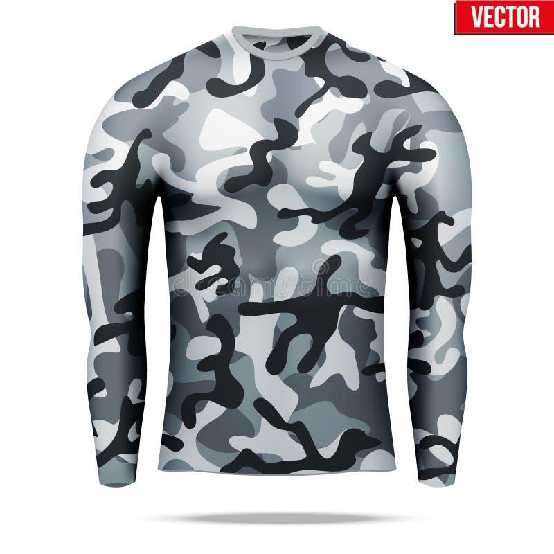 Sob a camisa da compressão da camada com a luva longa no estilo da camuflagem ilustração do vetor