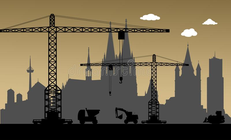 Sob a construção, cidade da água de Colônia, Alemanha ilustração royalty free