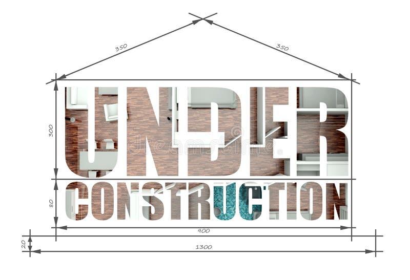 Sob a ilustração arquitetónica da construção goste do modelo da casa ilustração royalty free
