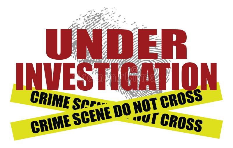 Sob a investigação com fita da cena do crime ilustração stock