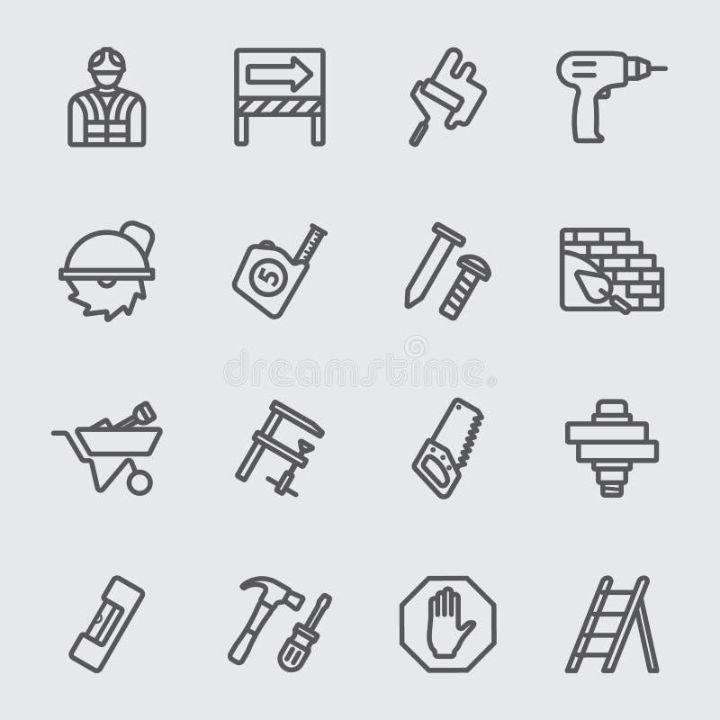 Sob a linha ícone da construção ilustração stock
