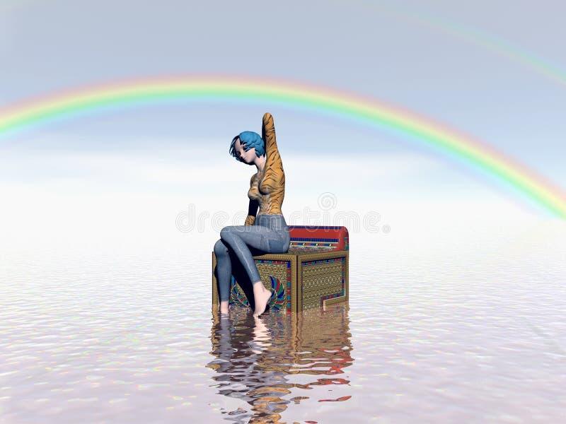 Sob o arco-íris ilustração do vetor