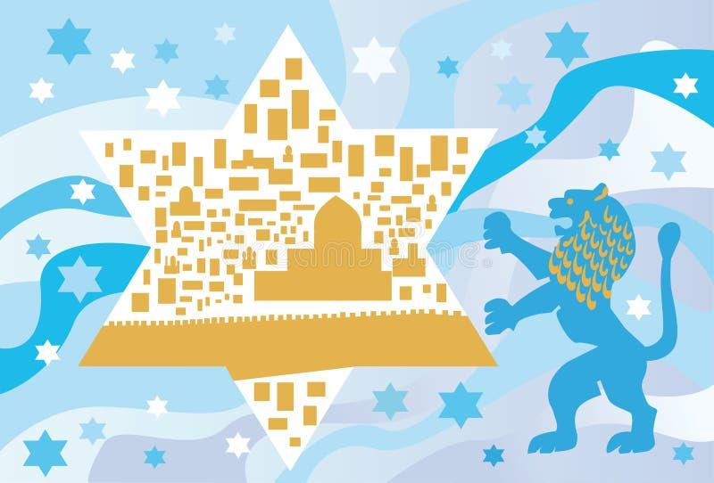 Sob o azul de céu é uma cidade do ouro? ilustração do vetor