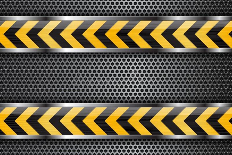 Sob o fundo da construção Metal textura perfurada com as listras de vidro amarelas pretas ilustração stock