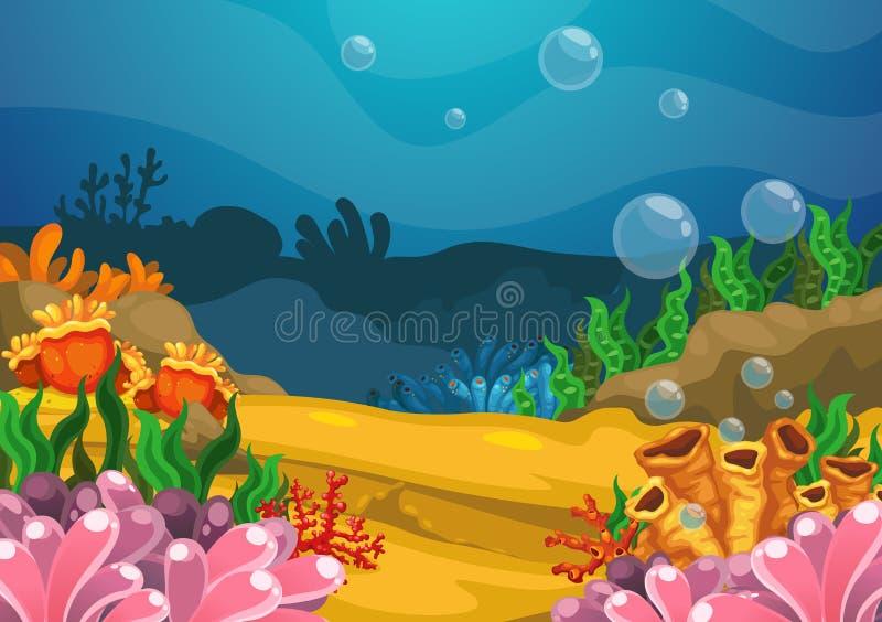 Sob o fundo do mar ilustração do vetor