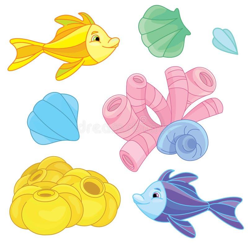 Sob o grupo do mar ilustração do vetor