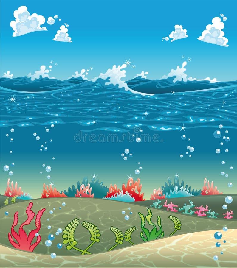 Sob o mar. ilustração do vetor