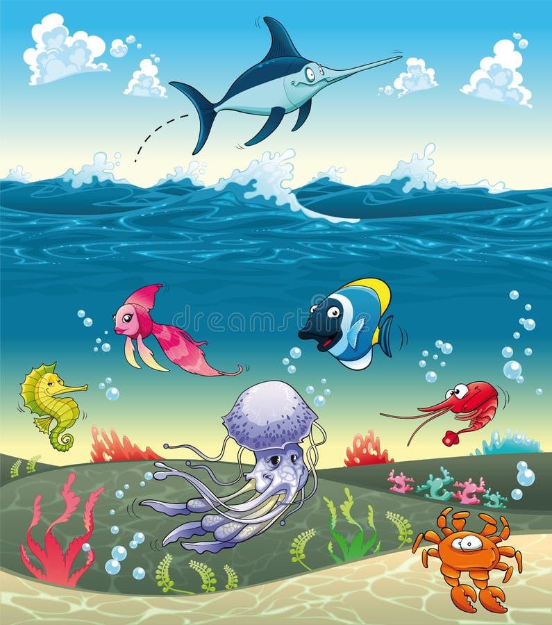 Sob o mar com peixes e outros animais.