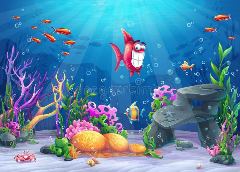 Sob o mar com peixes engraçados