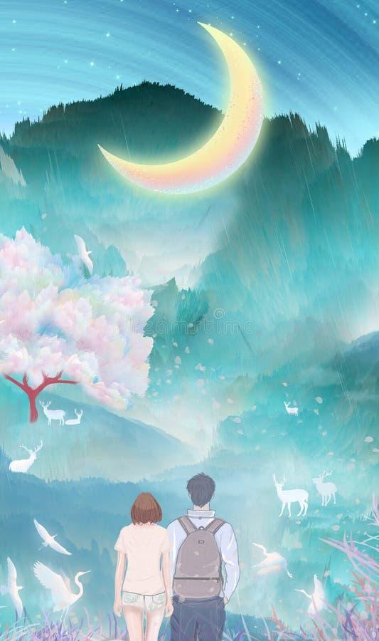 Sob o rio da lua, os pares beijam e abraçam junto a escalada exterior, guindastes nas árvores de cereja que voam o empacotamento  ilustração royalty free