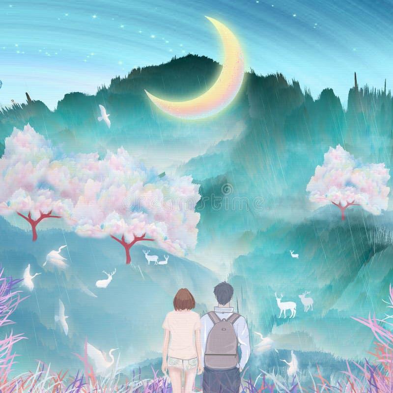 Sob o rio da lua, os pares beijam e abraçam junto a escalada exterior, guindastes nas árvores de cereja que voam o empacotamento  ilustração stock