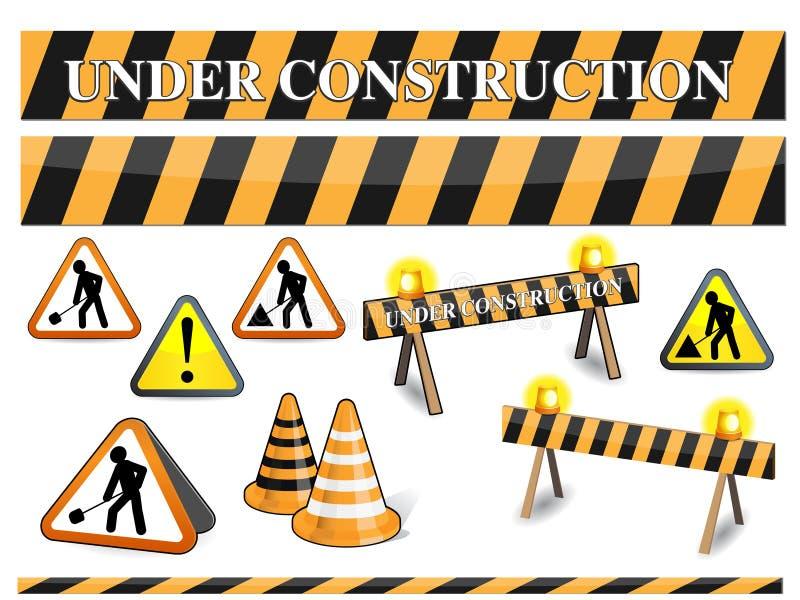 Sob o sinal da construção ilustração do vetor